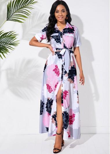 Cocktail Party Dress Multi Color Bowknot Sash Blossom Print Dress - L