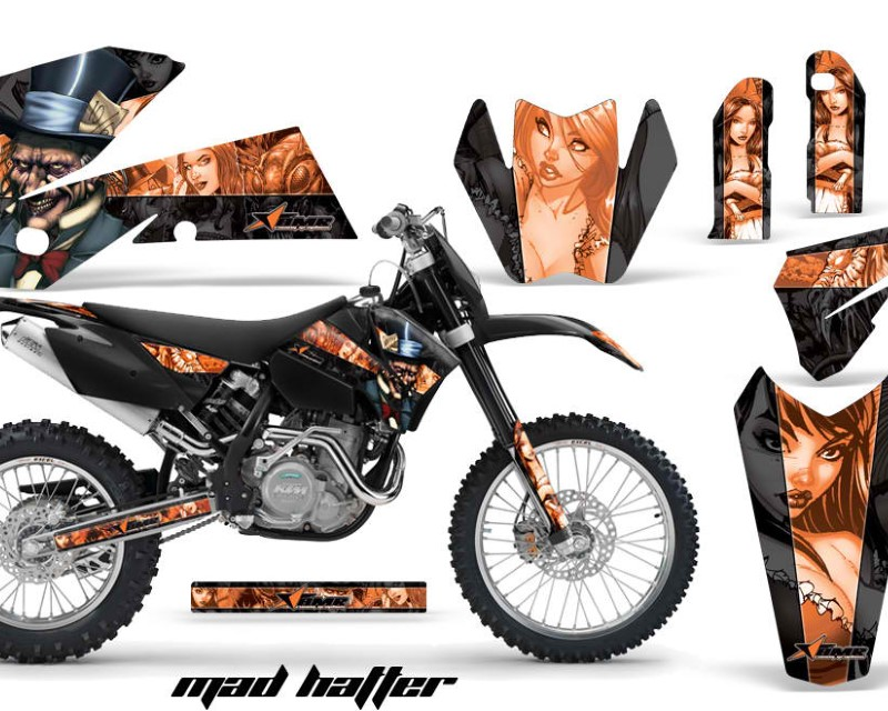 AMR Racing Dirt Bike Decal Graphic Kit Wrap For KTM EXC/SX/MXC?/SMR/XCF-W 2005-2007áHATTER ORANGE BLACK