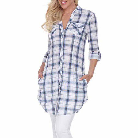 White Mark Piper Plaid Womens Long Sleeve Tunic Top, Large , Blue