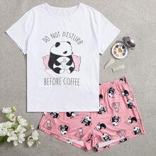 Plus Cartoon Panda And Slogan Graphic Pajama Set