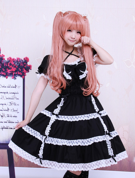 Milanoo Traje de lolita de algodon con escote cuadrado de manga corta de estilo clasico