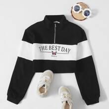 Pullover mit Reissverschluss, halber Knopfleiste, Schmetterling & Buchstaben Grafik und Farbblock