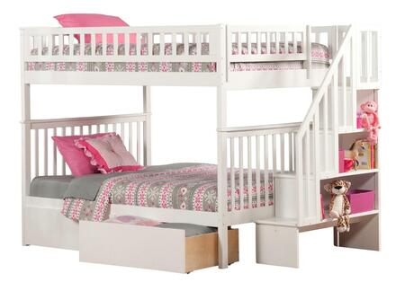 Woodland Collection AB56842 Full Over Full Size Staircase Bunk Bed with 2 Urban Bed Drawers  Casters  Matching Guard Rails and Eco-Friendly Hardwood