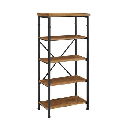 862255ASH01U Austin Collection Bookcase with 4 Shelves  Industrial Style and Medium-Density Fiberboard (MDF) in Black  Ash Veneer