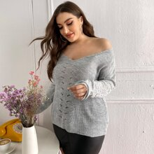 Plus V-neck Solid Ribbed Knit Sweater