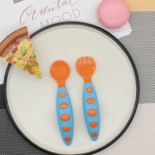 2 piezas set de tenedor con cuchara de bebe