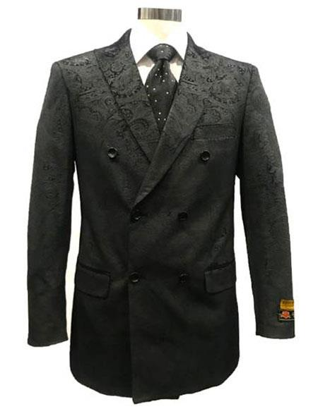 Mens Velvet Fabric Paisley Pattern Black Blazer Sport Coat Jacket