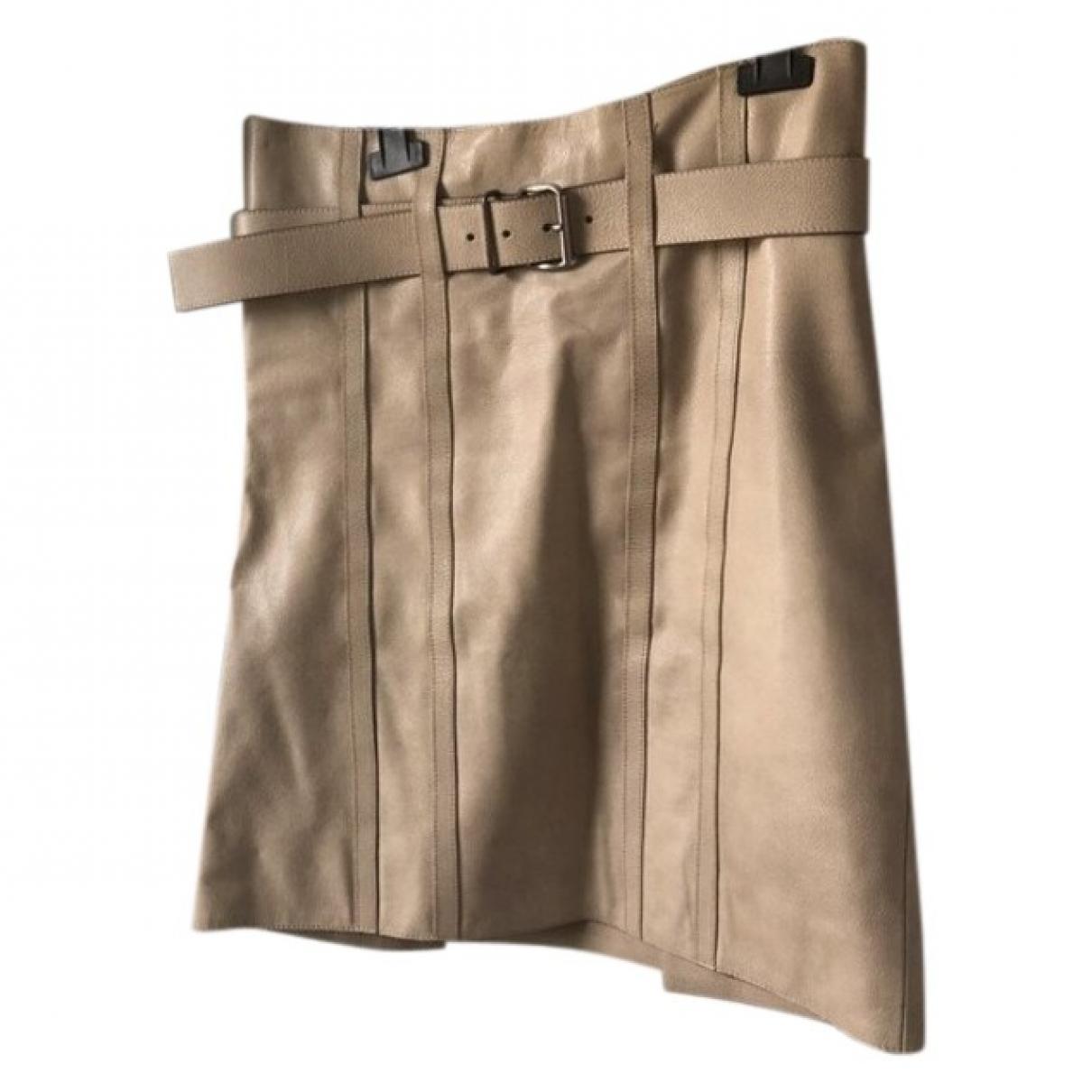 Prada \N Beige Leather skirt for Women 42 IT