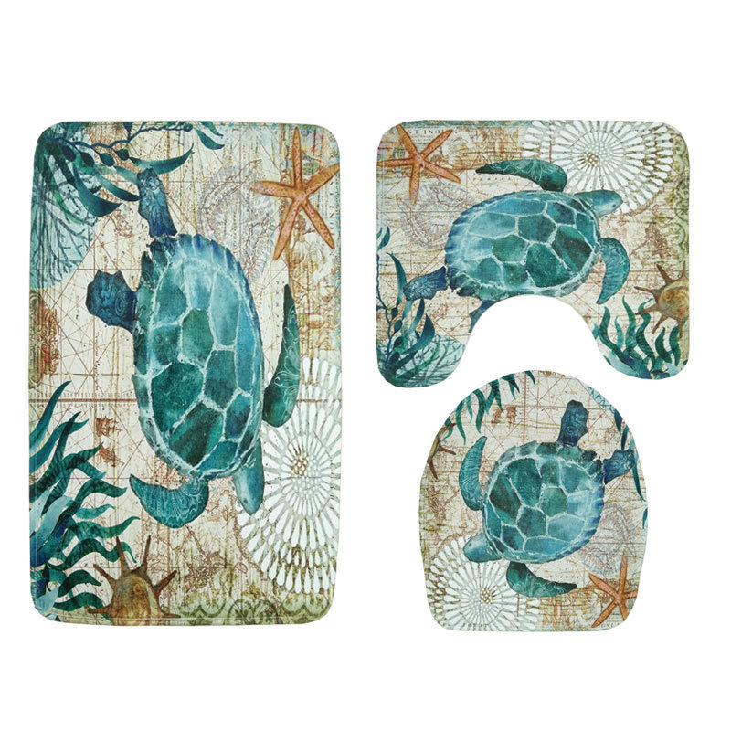 Marine Style 3 Pieces Set Toilet Seat Cover WC Set Sea Turtle Printed Bathroom Mat Washable Rug