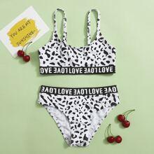 Bikini Badeanzug mit ueberallem und Buchstaben Muster