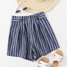 Button Strap Paperbag Waist Striped Shorts