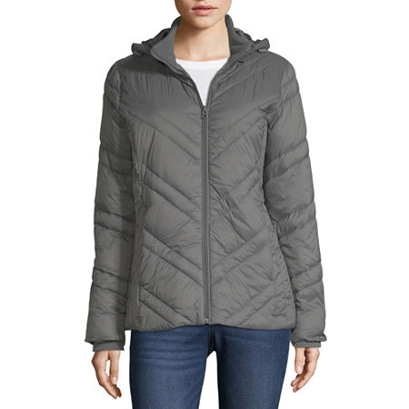 Xersion Water Resistant Lightweight Puffer Jacket, Small , Gray