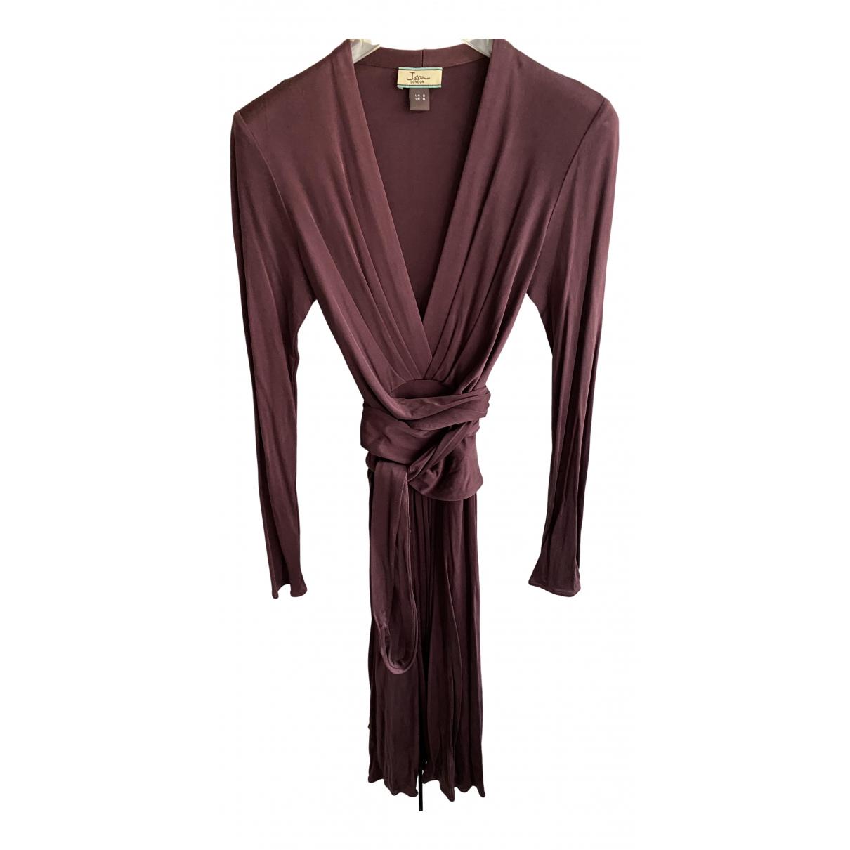 Issa - Robe   pour femme en soie - bordeaux