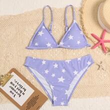 Star Print Triangle Bikini Swimsuit