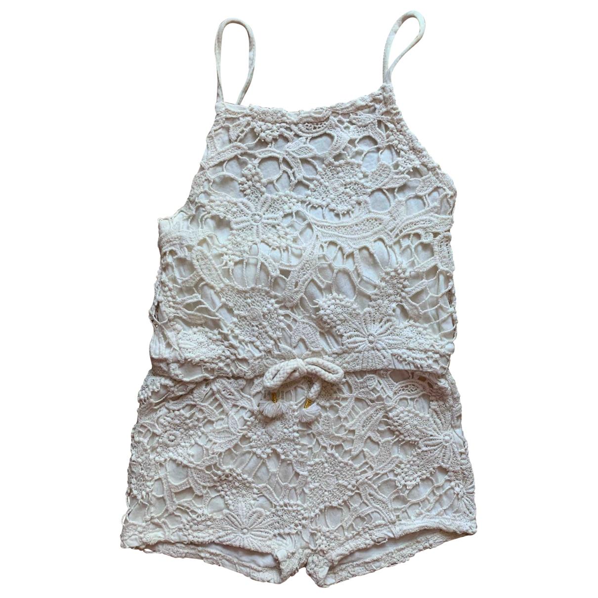 Zara - Robe    pour enfant en coton - elasthane - beige