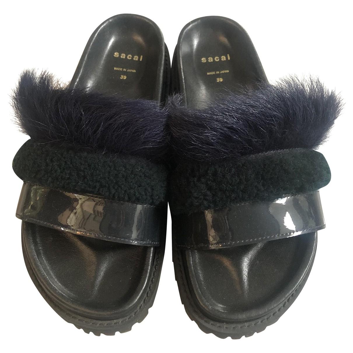 Sacai - Sandales   pour femme en cuir - marine