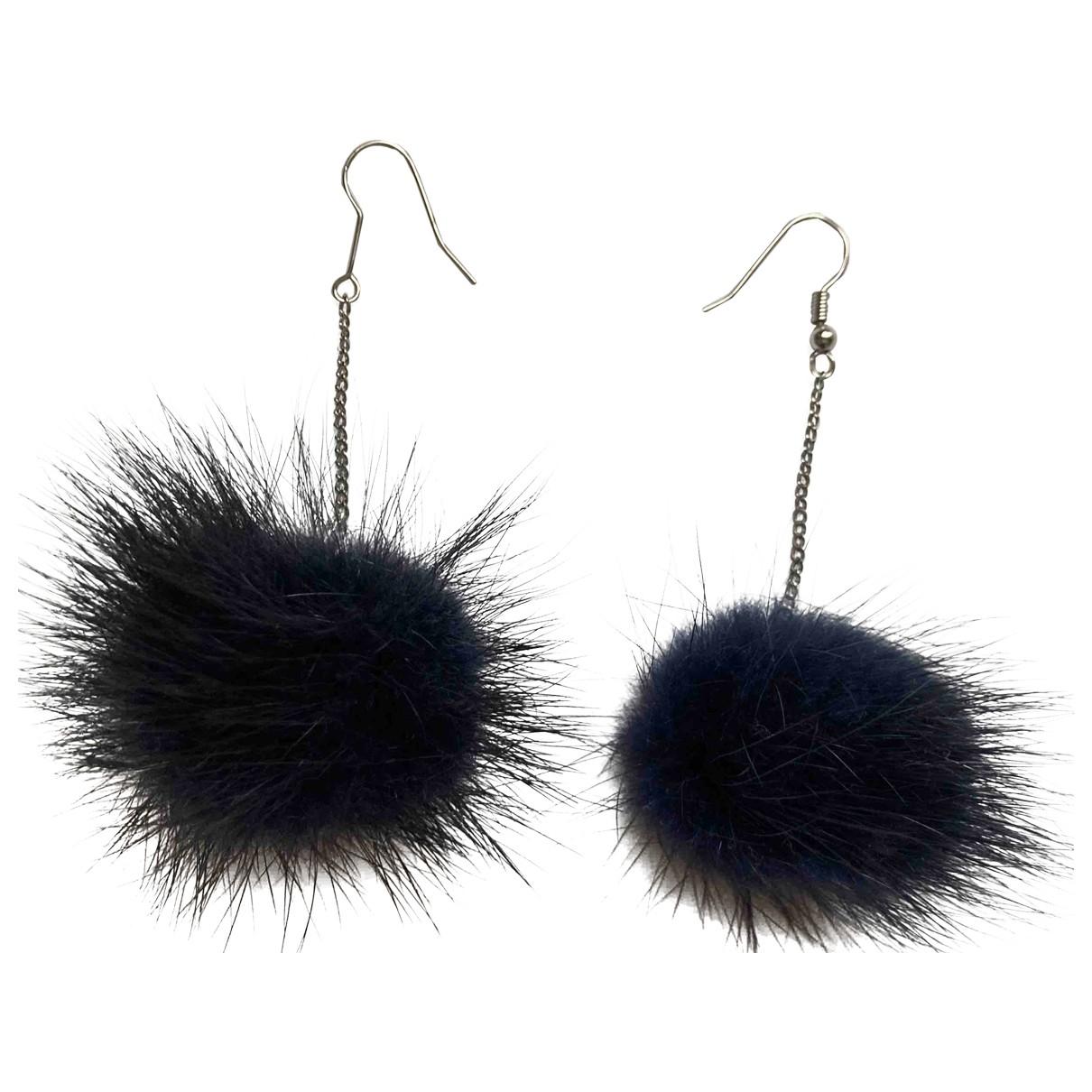 - Boucles doreilles   pour femme en fourrure synthetique - bleu