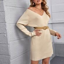 Rib-knit Solid Sweater Dress Without Belt
