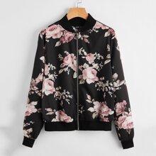 Jacke mit Reissverschluss vorn und Blumen Muster