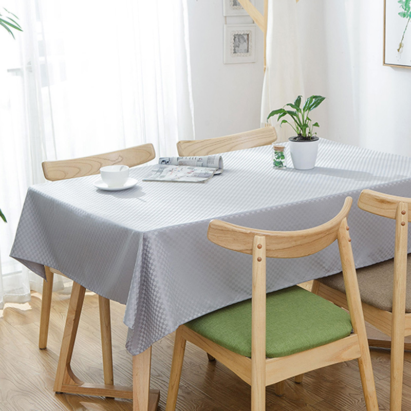 Polyester Simple Style Waterproof Oilproof Rectangle Tablecloth Set