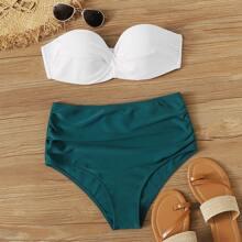Bandeau Bikini mit Buegel, Ruesche und hoher Taille