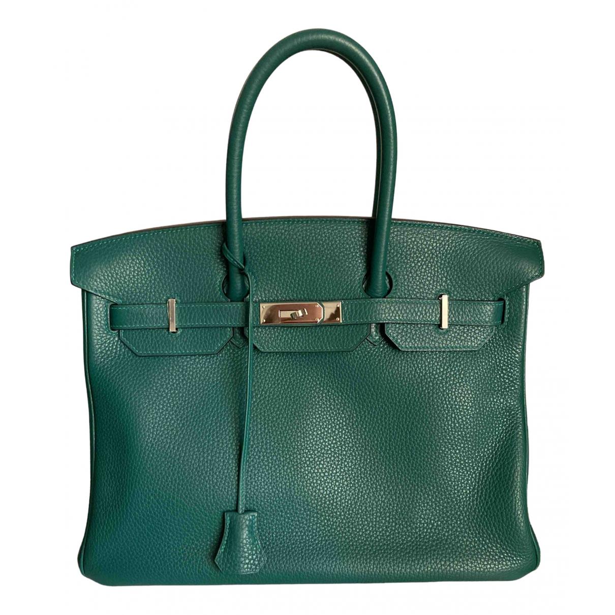 Hermes - Sac a main Birkin 35 pour femme en cuir - vert