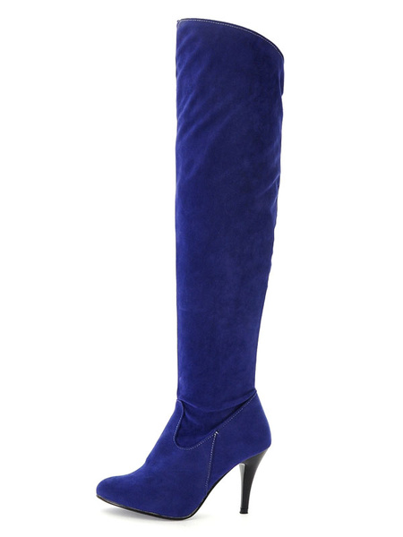 Milanoo Over The Knee Boots Womens Micro Suede Pointed Toe Stiletto Heel Winter Boots