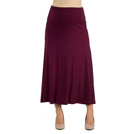 24/7 Comfort Apparel Elastic Waist Solid Color Maxi Skirt, 1x , Red