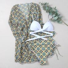 3 Packe Bikini Badeanzug und Kimono mit Geo Muster und Twist vorn