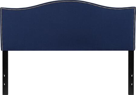 HG-HB1707-Q-N-GG Lexington Upholstered Queen Size Headboard with Decorative Nail Trim in Navy
