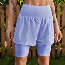 2 In 1 Einfarbige Sports Shorts