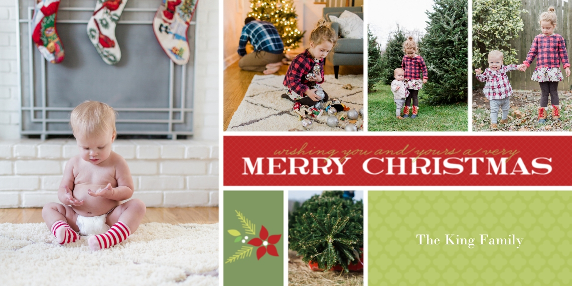 Christmas Photo Cards Flat Glossy Photo Paper Cards with Envelopes, 4x8, Card & Stationery -Holiday Bouquet