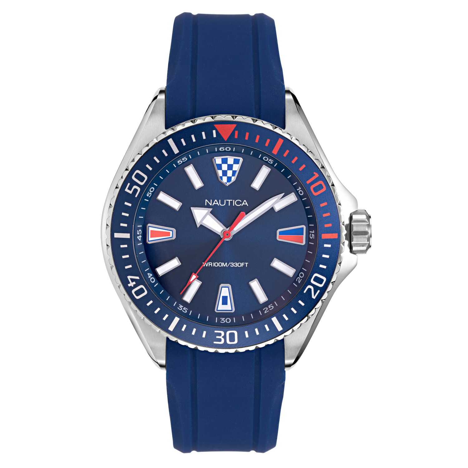 Nautica Watch NAPCPS901 Crandon Park Beach, Analog, Water Resistant, Silicone Band, Adjustable Buckle, Snap Down Crown, Blue