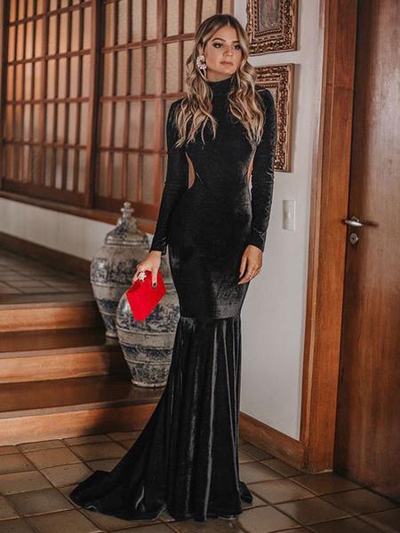 Milanoo Vestido largo negro sin mangas Vestido largo sin mangas Vestido largo sin mangas