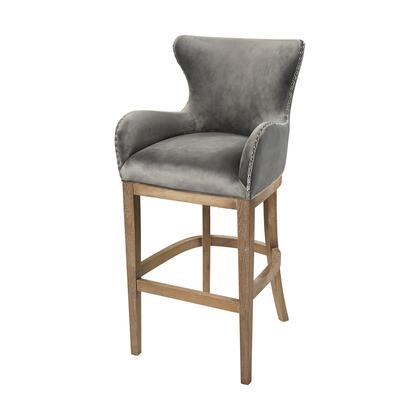 1204-031 Roxie Grey Bar Chair  In Grey  Reclaimed