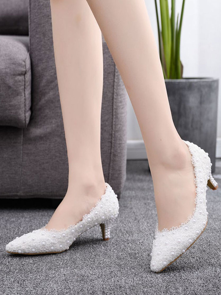 Milanoo Wedding Shoes Split Color PU Leather Pearls Pointed Toe Kitten Heel Bridal Shoes