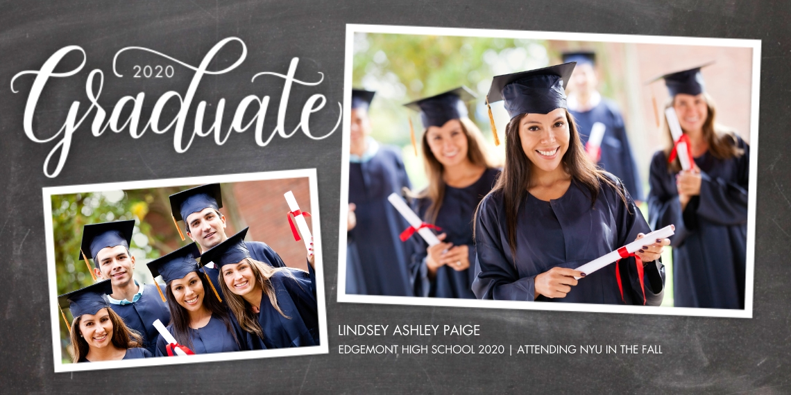 2020 Graduation Announcements Flat Glossy Photo Paper Cards with Envelopes, 4x8, Card & Stationery -2020 Graduate Script by Tumbalina