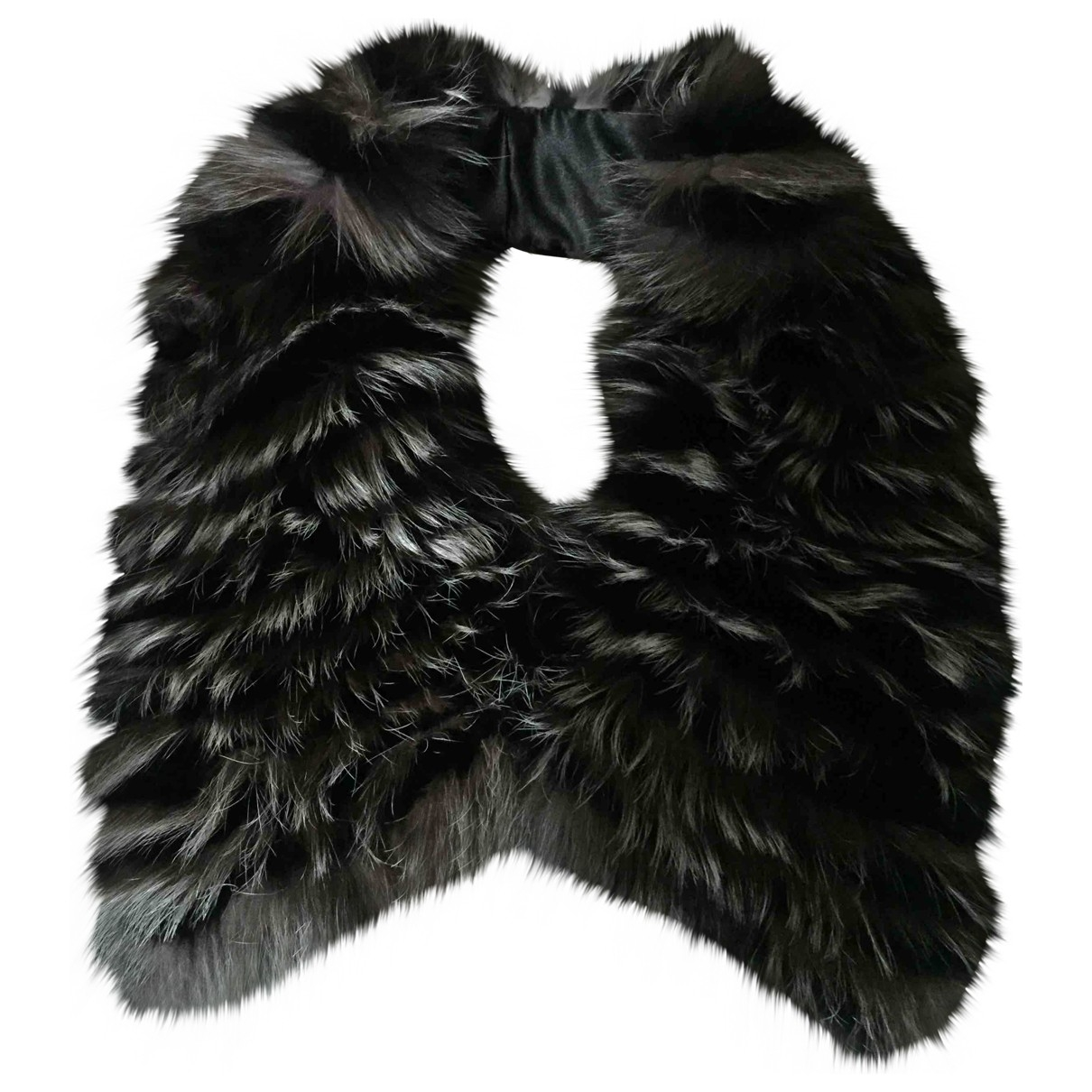 Non Signé / Unsigned \N Anthracite Fox scarf for Women \N