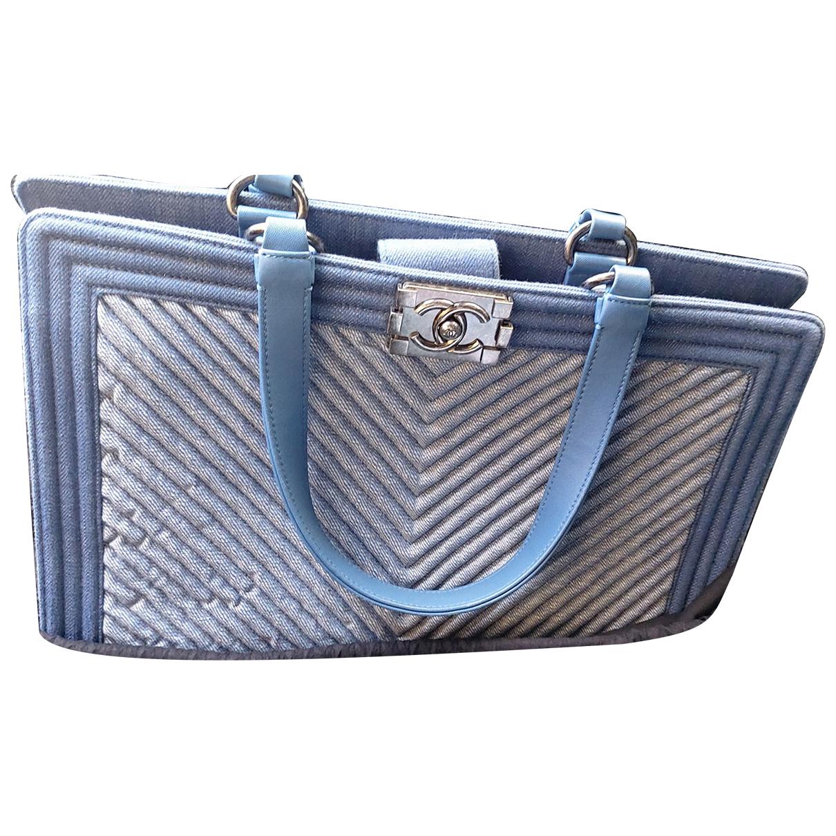 Chanel Boy Handtasche in  Blau Baumwolle