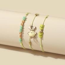 3pcs Girls Rabbit Decor String Bracelet
