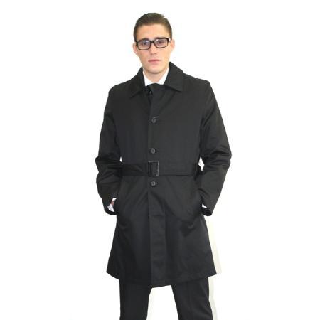Ferrecci Mens Black Belted Trench Coat