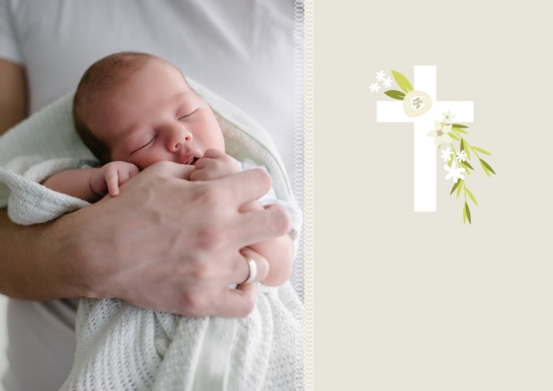 Baptism Invitations Flat Glossy Photo Paper Cards with Envelopes, 5x7, Card & Stationery -Botanical Cross