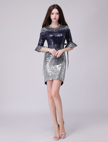 Milanoo Sequin Cocktail Dresses Half Sleeve Sheath Tight Dark Navy Formal Party Dress