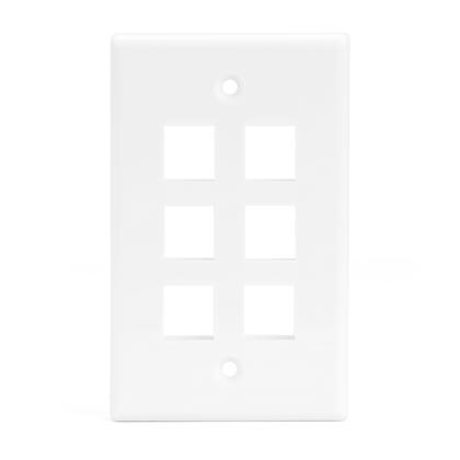 6 Port Keystone Wall Plate for RJ45 RJ11 RJ12 RCA F-Type Jack - White - PrimeCables® - 1/Pack