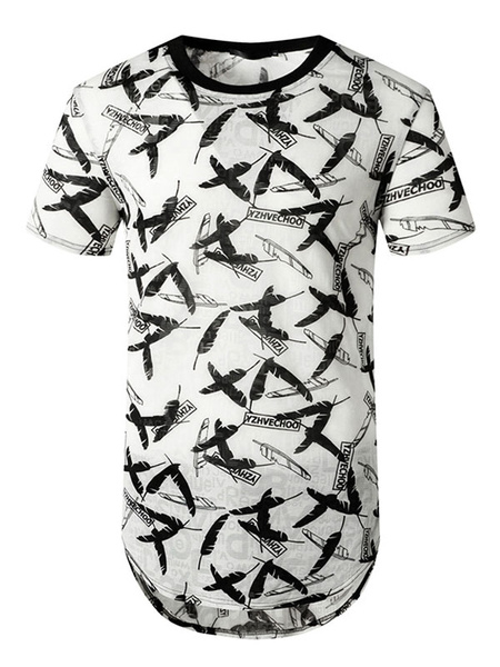 Milanoo White T Shirts Feather Print Short Sleeves Summer Tops