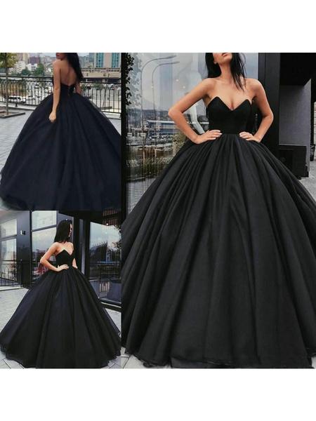 Milanoo Vestidos de novia negros Tela de raso Princesa Silueta Imperio Cintura Hasta el suelo Vestido de novia