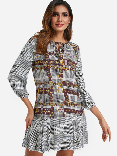 Yoins Burgundy Houndstooth & Chain Print Flounced Hem Dress