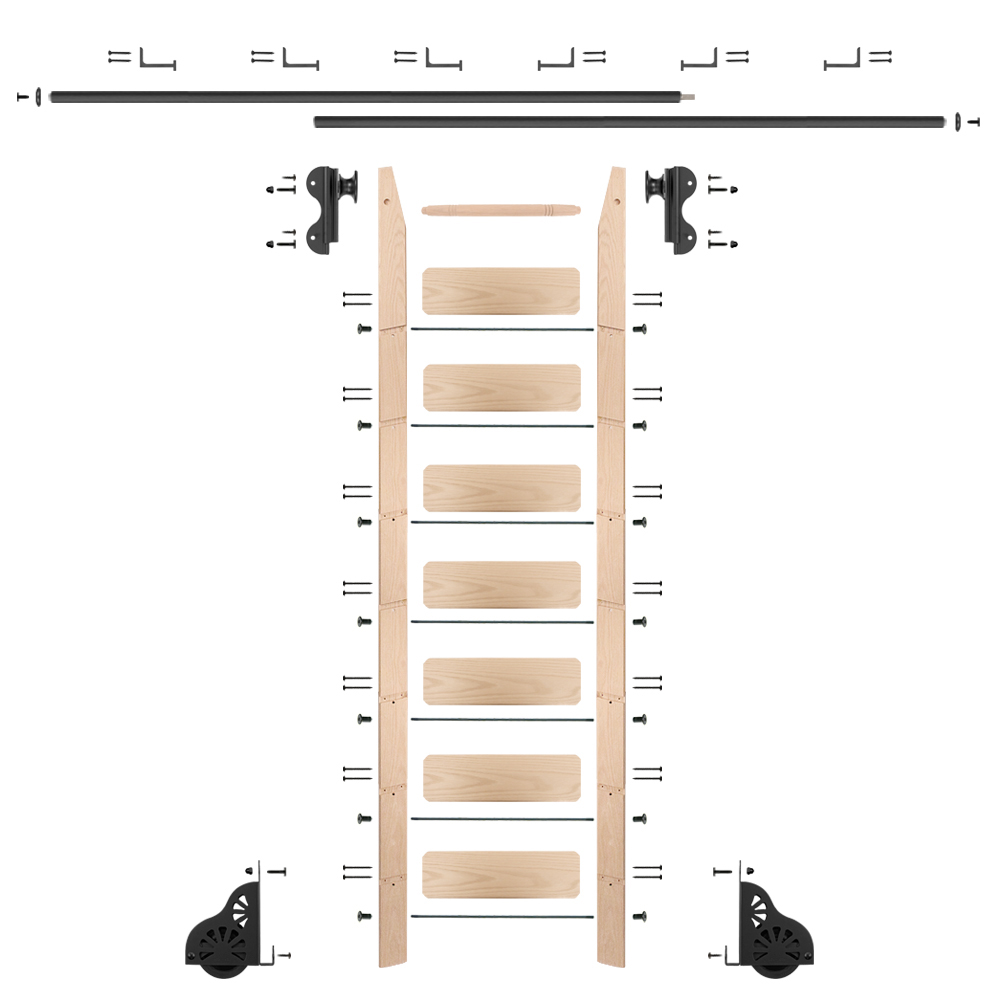 Rolling Hook 8-Foot Maple Ladder Kit with 12-Foot Rail and Horizontal Brackets, Black