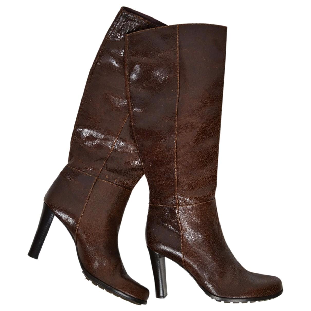 Sport Max - Bottes   pour femme en cuir - marron
