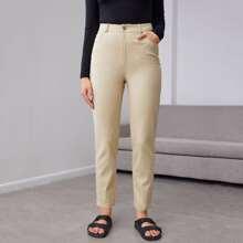 Pantalones Boton Liso Casual